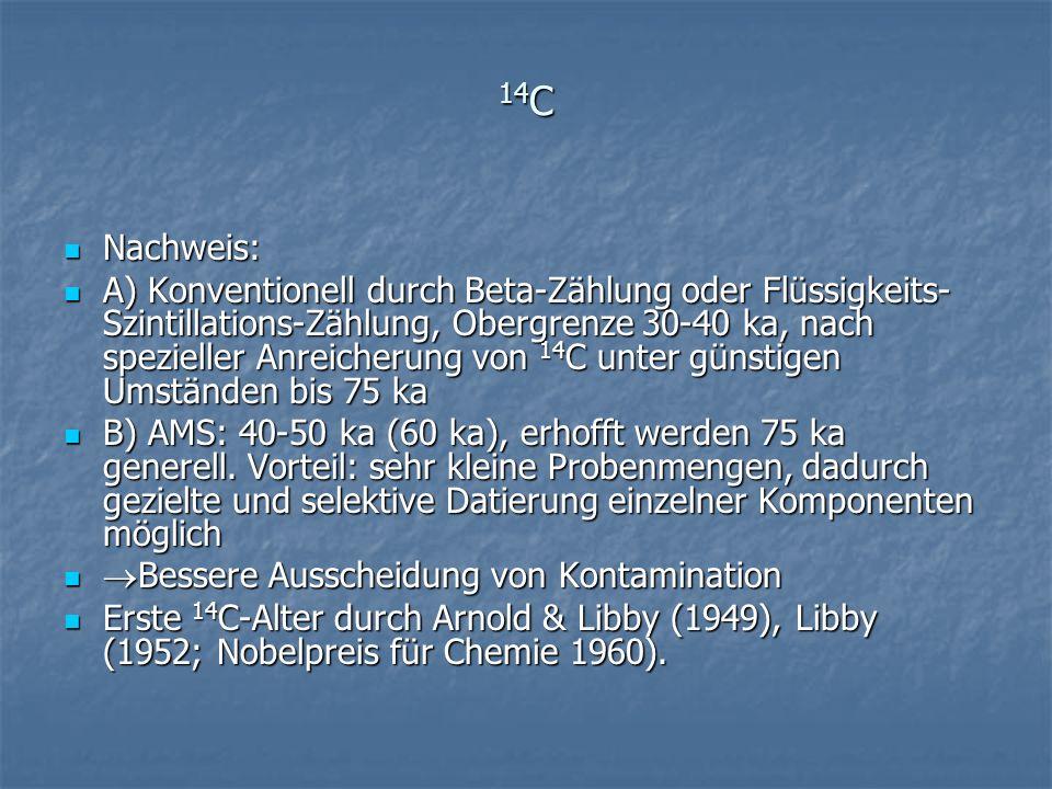14 C Nachweis: Nachweis: A) Konventionell durch Beta-Zählung oder Flüssigkeits- Szintillations-Zählung, Obergrenze 30-40 ka, nach spezieller Anreicher