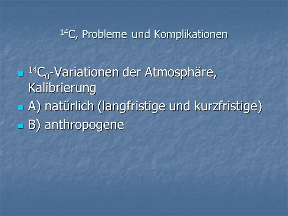 14 C, Probleme und Komplikationen 14 C 0 -Variationen der Atmosphäre, Kalibrierung 14 C 0 -Variationen der Atmosphäre, Kalibrierung A) natürlich (lang