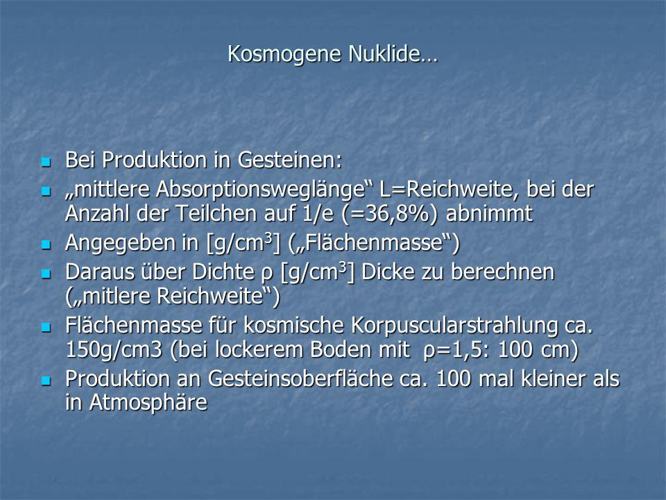 Kosmogene Nuklide… Bei Produktion in Gesteinen: Bei Produktion in Gesteinen: mittlere Absorptionsweglänge L=Reichweite, bei der Anzahl der Teilchen au
