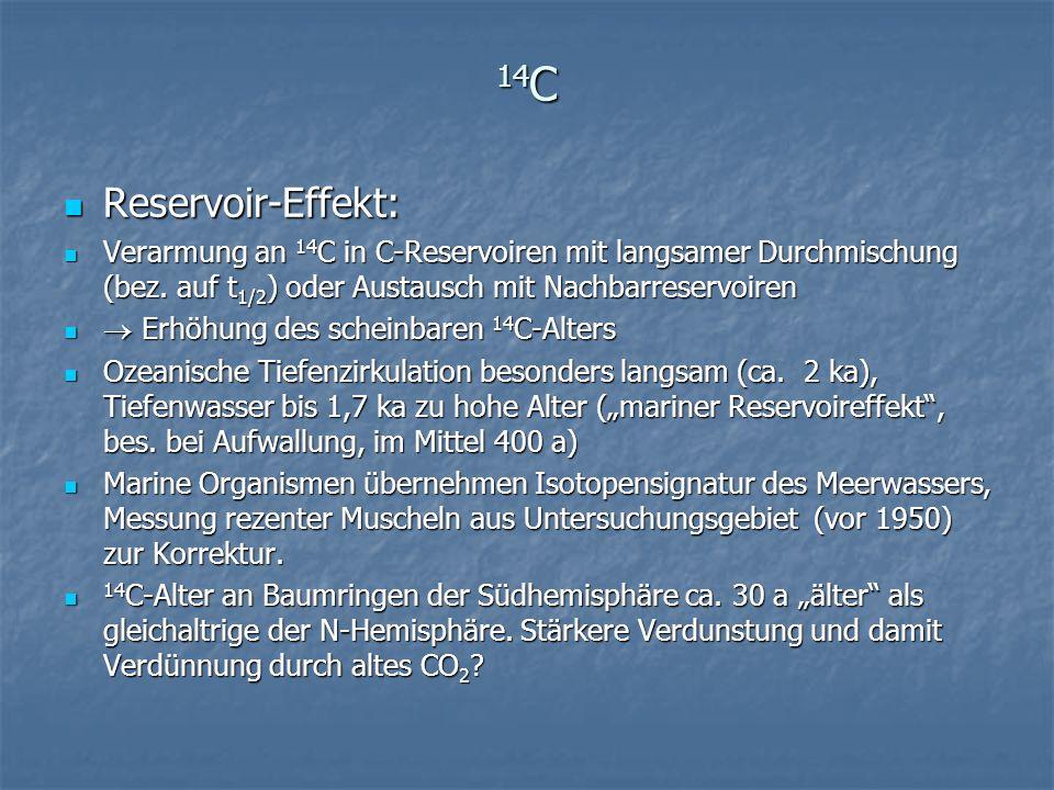 14 C Reservoir-Effekt: Reservoir-Effekt: Verarmung an 14 C in C-Reservoiren mit langsamer Durchmischung (bez. auf t 1/2 ) oder Austausch mit Nachbarre