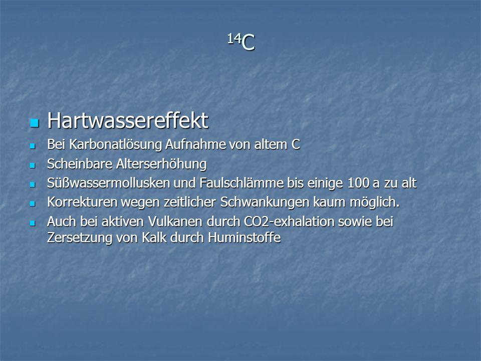 14 C Hartwassereffekt Hartwassereffekt Bei Karbonatlösung Aufnahme von altem C Bei Karbonatlösung Aufnahme von altem C Scheinbare Alterserhöhung Schei