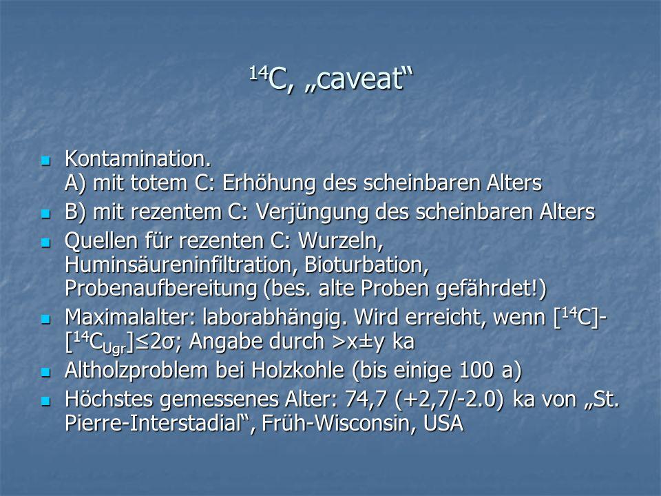 14 C, caveat Kontamination. A) mit totem C: Erhöhung des scheinbaren Alters Kontamination. A) mit totem C: Erhöhung des scheinbaren Alters B) mit reze