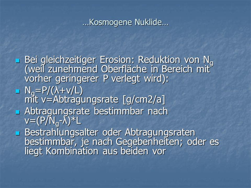 …Kosmogene Nuklide… Bei gleichzeitiger Erosion: Reduktion von N g (weil zunehmend Oberfläche in Bereich mit vorher geringerer P verlegt wird): Bei gle