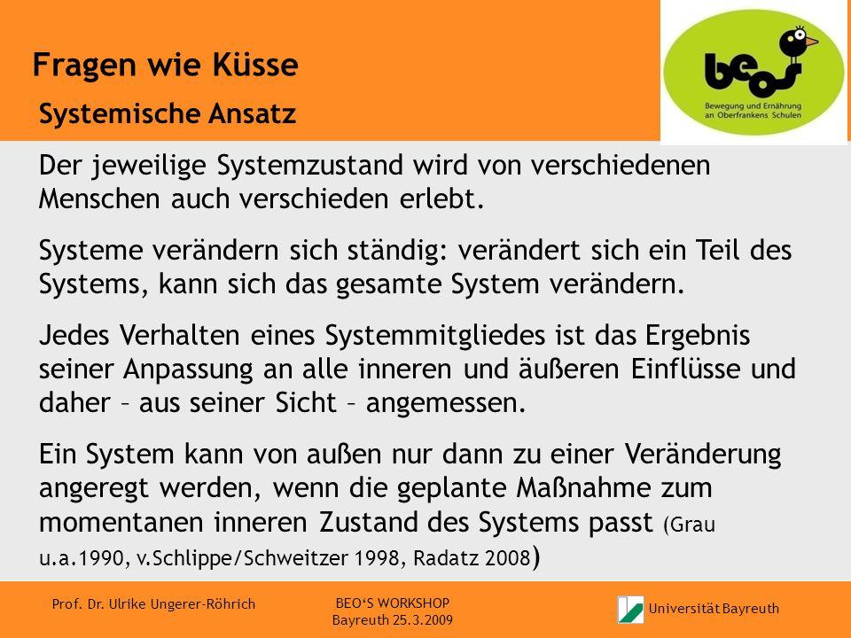 Universität Bayreuth Prof. Dr. Ulrike Ungerer-Röhrich Fragen wie Küsse BEOS WORKSHOP Bayreuth 25.3.2009 Systemische Ansatz Der jeweilige Systemzustand