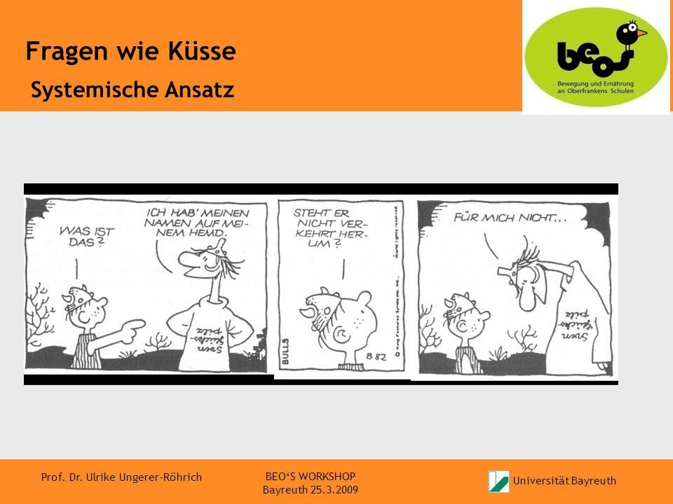 Universität Bayreuth Prof. Dr. Ulrike Ungerer-Röhrich Fragen wie Küsse BEOS WORKSHOP Bayreuth 25.3.2009 Systemische Ansatz