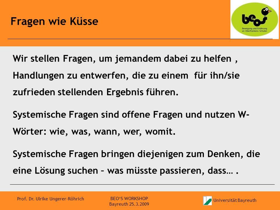 Universität Bayreuth Prof. Dr. Ulrike Ungerer-Röhrich Fragen wie Küsse BEOS WORKSHOP Bayreuth 25.3.2009 Wir stellen Fragen, um jemandem dabei zu helfe