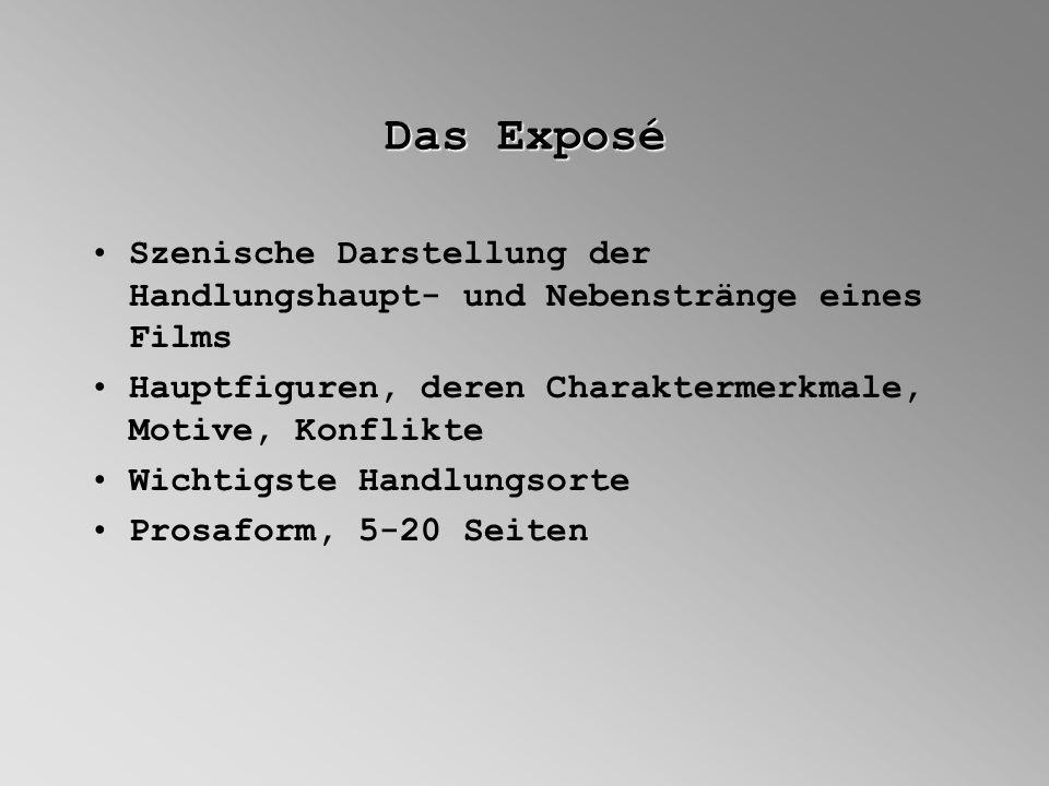 Das Exposé Szenische Darstellung der Handlungshaupt- und Nebenstränge eines Films Hauptfiguren, deren Charaktermerkmale, Motive, Konflikte Wichtigste