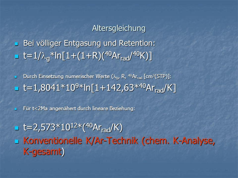Altersgleichung Bei völliger Entgasung und Retention: Bei völliger Entgasung und Retention: t=1/ g *ln[1+(1+R)( 40 Ar rad / 40 K)] t=1/ g *ln[1+(1+R)(