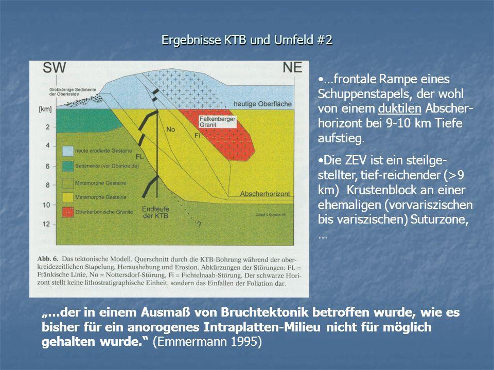 Ergebnisse KTB und Umfeld #2 …frontale Rampe eines Schuppenstapels, der wohl von einem duktilen Abscher- horizont bei 9-10 km Tiefe aufstieg. Die ZEV