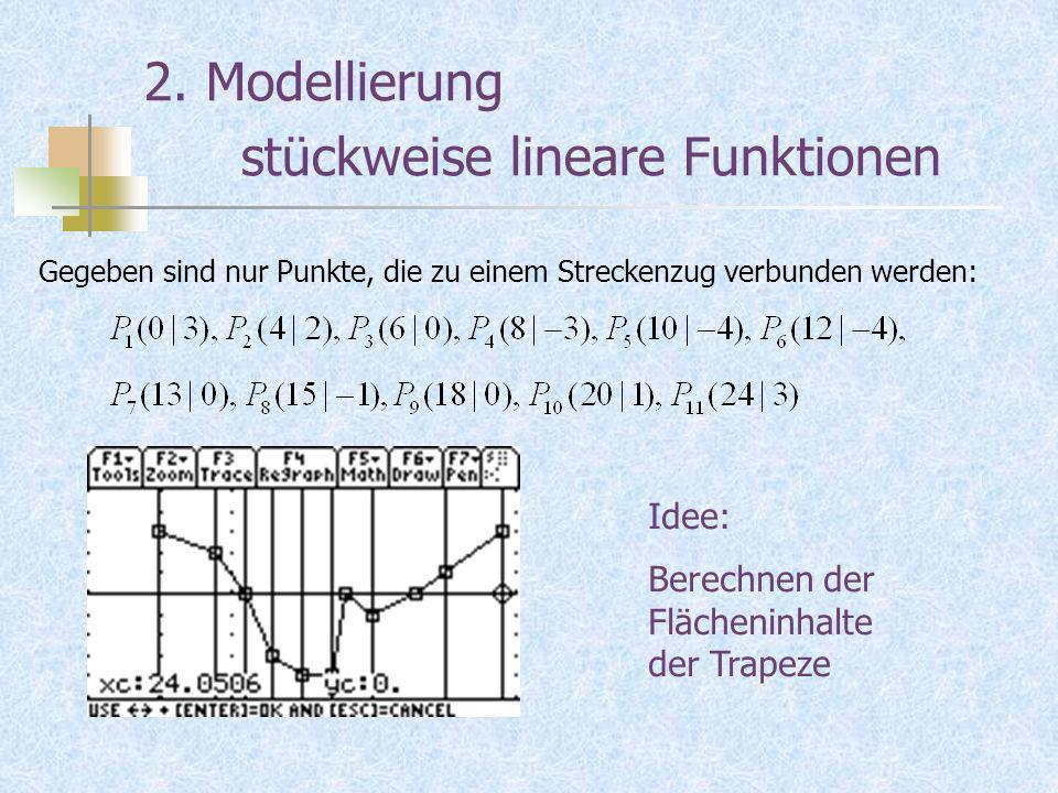 2. Modellierung stückweise lineare Funktionen Gegeben sind nur Punkte, die zu einem Streckenzug verbunden werden: Idee: Berechnen der Flächeninhalte d