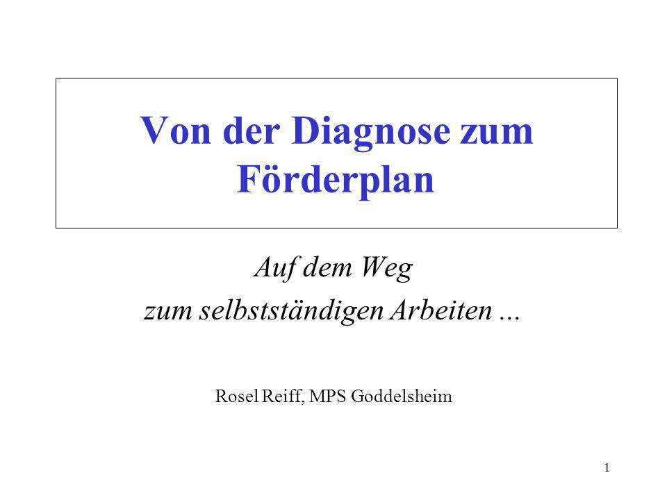 1 Von der Diagnose zum Förderplan Auf dem Weg zum selbstständigen Arbeiten...