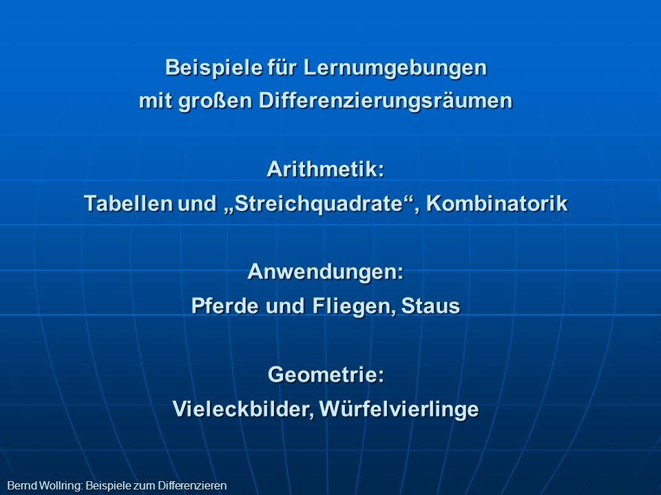 Beispiele für Lernumgebungen mit großen Differenzierungsräumen Arithmetik: Tabellen und Streichquadrate, Kombinatorik Anwendungen: Pferde und Fliegen,
