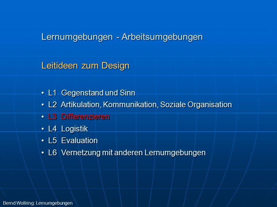 Lernumgebungen - Arbeitsumgebungen Leitideen zum Design L1 Gegenstand und Sinn L1 Gegenstand und Sinn L2 Artikulation, Kommunikation, Soziale Organisa