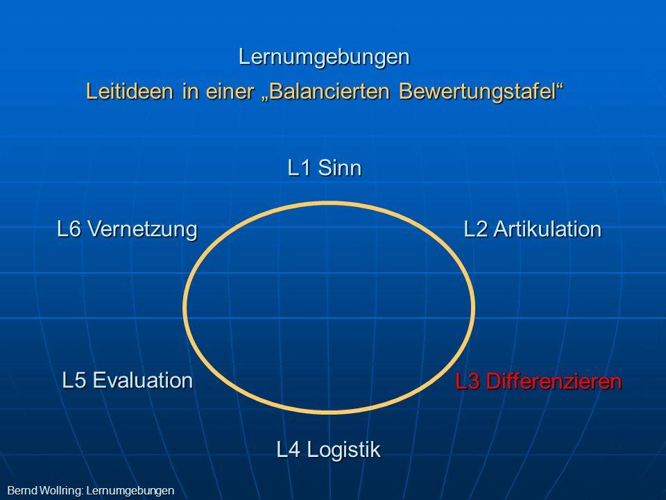 Lernumgebungen Leitideen in einer Balancierten Bewertungstafel L1 Sinn L4 Logistik L2 Artikulation L3 Differenzieren L6 Vernetzung L5 Evaluation Bernd