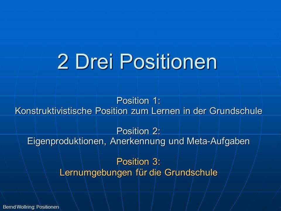 2 Drei Positionen Bernd Wollring: Positionen Position 1: Konstruktivistische Position zum Lernen in der Grundschule Position 2: Eigenproduktionen, Ane