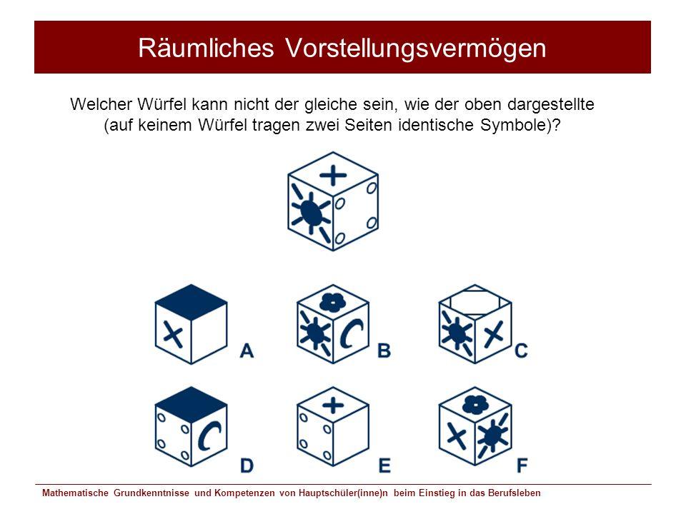 Mathematische Grundkenntnisse und Kompetenzen von Hauptschüler(inne)n beim Einstieg in das Berufsleben Räumliches Vorstellungsvermögen Welcher Würfel