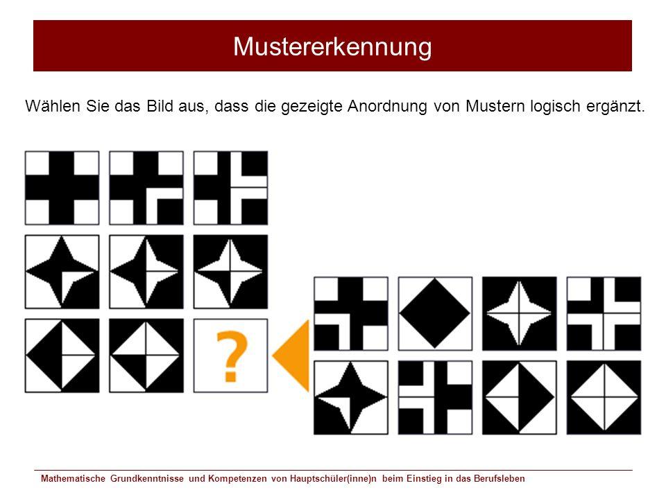 Mathematische Grundkenntnisse und Kompetenzen von Hauptschüler(inne)n beim Einstieg in das Berufsleben Mustererkennung Wählen Sie das Bild aus, dass d