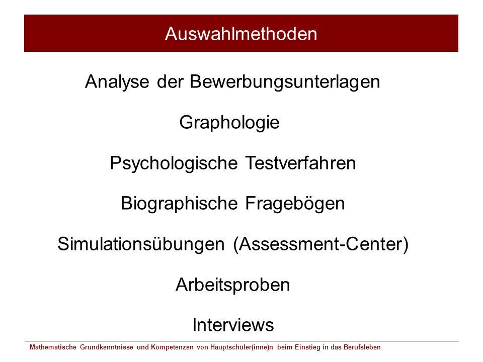 Mathematische Grundkenntnisse und Kompetenzen von Hauptschüler(inne)n beim Einstieg in das Berufsleben Auswahlmethoden Analyse der Bewerbungsunterlage