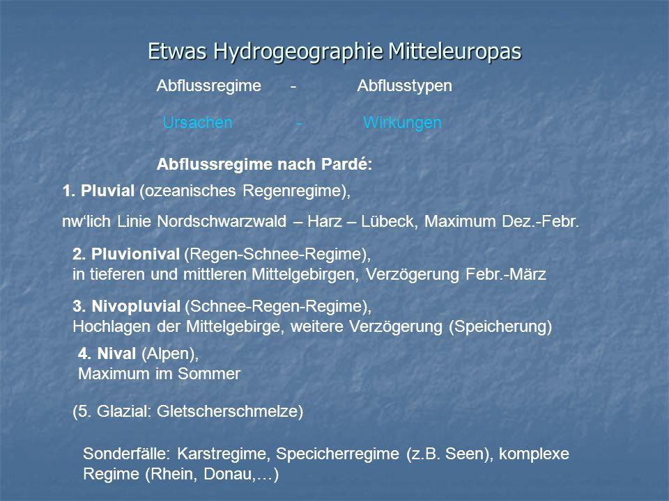 Etwas Hydrogeographie Mitteleuropas Abflussregime nach Pardé: Abflussregime-Abflusstypen Ursachen-Wirkungen 1. Pluvial (ozeanisches Regenregime), nwli