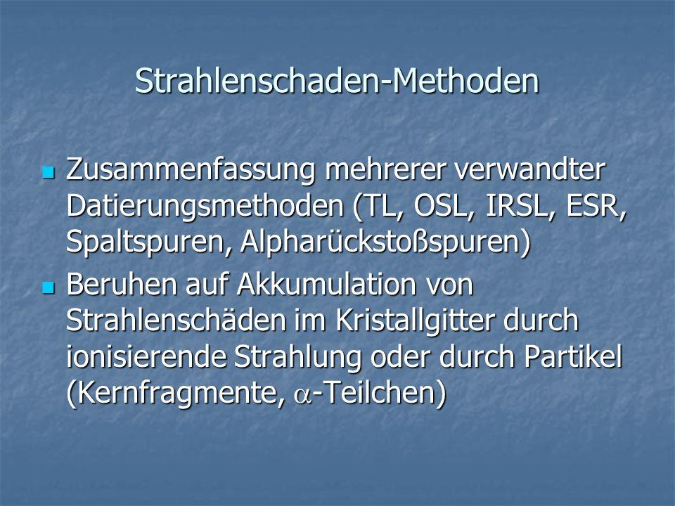 Strahlenschaden-Methoden Zusammenfassung mehrerer verwandter Datierungsmethoden (TL, OSL, IRSL, ESR, Spaltspuren, Alpharückstoßspuren) Zusammenfassung