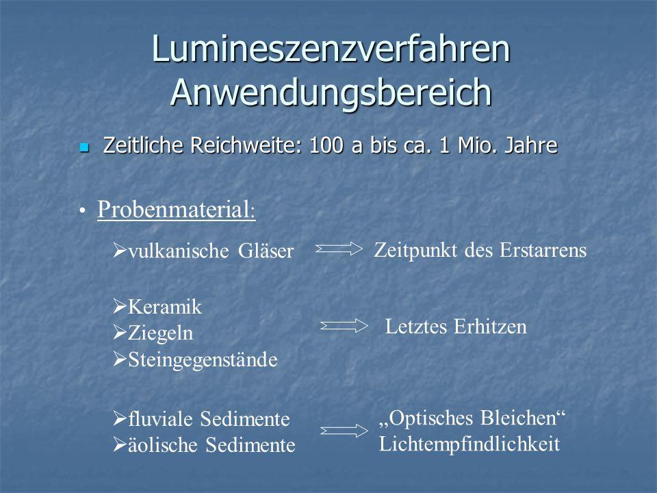Lumineszenzverfahren Anwendungsbereich Zeitliche Reichweite: 100 a bis ca. 1 Mio. Jahre Zeitliche Reichweite: 100 a bis ca. 1 Mio. Jahre Probenmateria