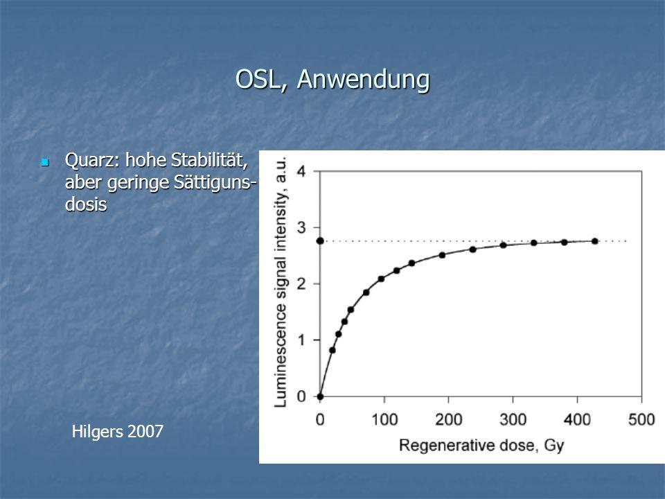 OSL, Anwendung Quarz: hohe Stabilität, aber geringe Sättiguns- dosis Quarz: hohe Stabilität, aber geringe Sättiguns- dosis Hilgers 2007