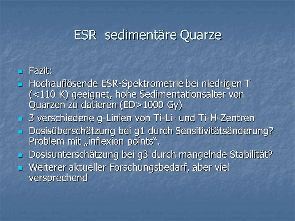 ESR sedimentäre Quarze Fazit: Fazit: Hochauflösende ESR-Spektrometrie bei niedrigen T ( 1000 Gy) Hochauflösende ESR-Spektrometrie bei niedrigen T ( 10