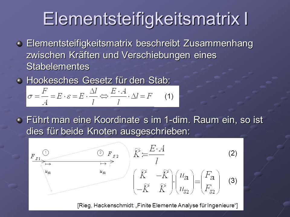 Elementsteifigkeitsmatrix I Elementsteifigkeitsmatrix beschreibt Zusammenhang zwischen Kräften und Verschiebungen eines Stabelementes Hookesches Gesetz für den Stab: Führt man eine Koordinate s im 1-dim.
