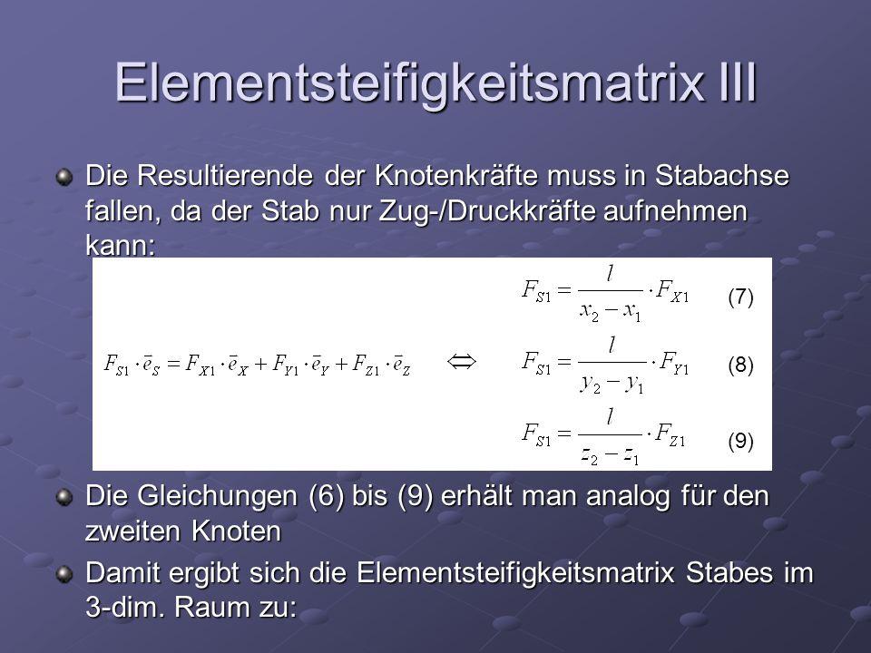 Elementsteifigkeitsmatrix III Die Resultierende der Knotenkräfte muss in Stabachse fallen, da der Stab nur Zug-/Druckkräfte aufnehmen kann: Die Gleichungen (6) bis (9) erhält man analog für den zweiten Knoten Damit ergibt sich die Elementsteifigkeitsmatrix Stabes im 3-dim.