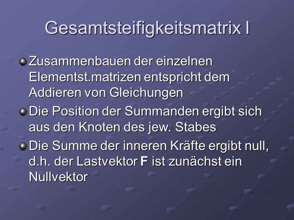 Gesamtsteifigkeitsmatrix I Zusammenbauen der einzelnen Elementst.matrizen entspricht dem Addieren von Gleichungen Die Position der Summanden ergibt sich aus den Knoten des jew.