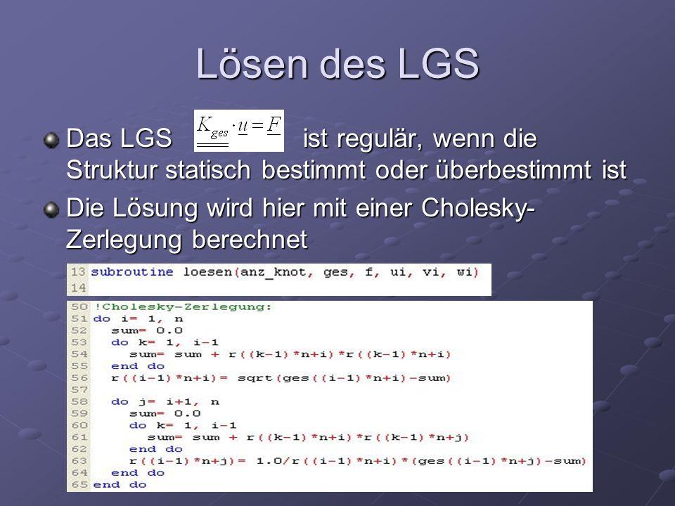 Lösen des LGS Das LGS ist regulär, wenn die Struktur statisch bestimmt oder überbestimmt ist Die Lösung wird hier mit einer Cholesky- Zerlegung berechnet