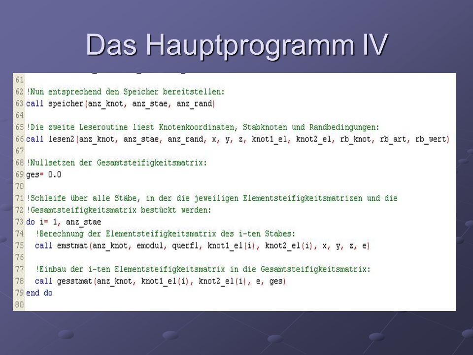 Das Hauptprogramm IV