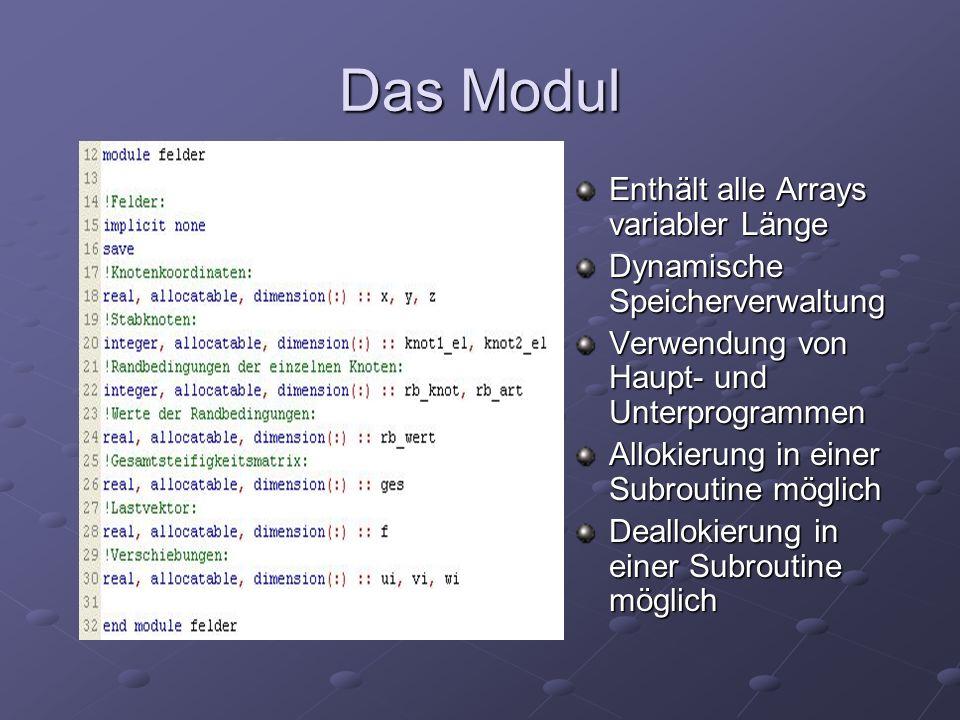 Das Modul Enthält alle Arrays variabler Länge Dynamische Speicherverwaltung Verwendung von Haupt- und Unterprogrammen Allokierung in einer Subroutine möglich Deallokierung in einer Subroutine möglich