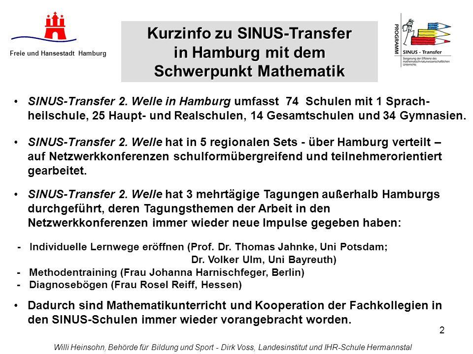2 Freie und Hansestadt Hamburg SINUS-Transfer 2. Welle in Hamburg umfasst 74 Schulen mit 1 Sprach- heilschule, 25 Haupt- und Realschulen, 14 Gesamtsch