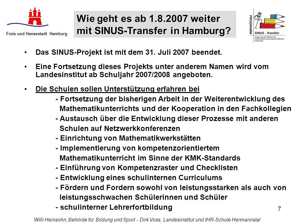7 Freie und Hansestadt Hamburg Willi Heinsohn, Behörde für Bildung und Sport - Dirk Voss, Landesinstitut und IHR-Schule Hermannstal Das SINUS-Projekt