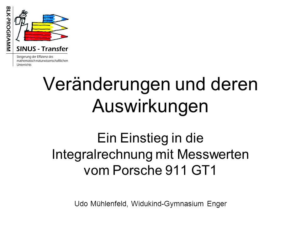 Veränderungen und deren Auswirkungen Ein Einstieg in die Integralrechnung mit Messwerten vom Porsche 911 GT1 Udo Mühlenfeld, Widukind-Gymnasium Enger