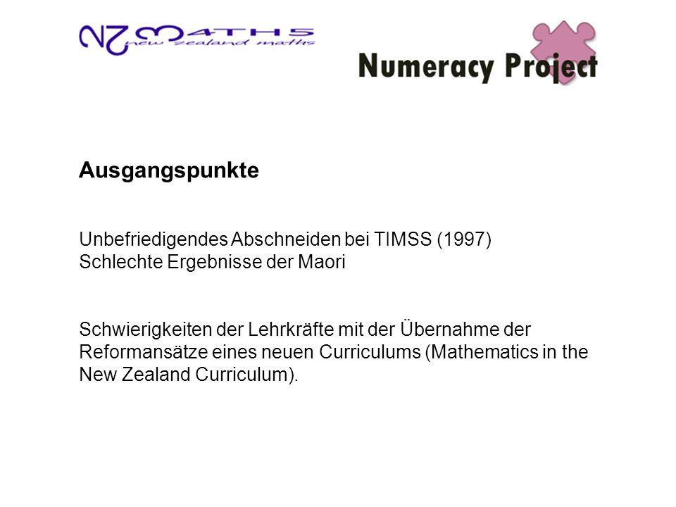 Ausgangspunkte Unbefriedigendes Abschneiden bei TIMSS (1997) Schlechte Ergebnisse der Maori Schwierigkeiten der Lehrkräfte mit der Übernahme der Reformansätze eines neuen Curriculums (Mathematics in the New Zealand Curriculum).