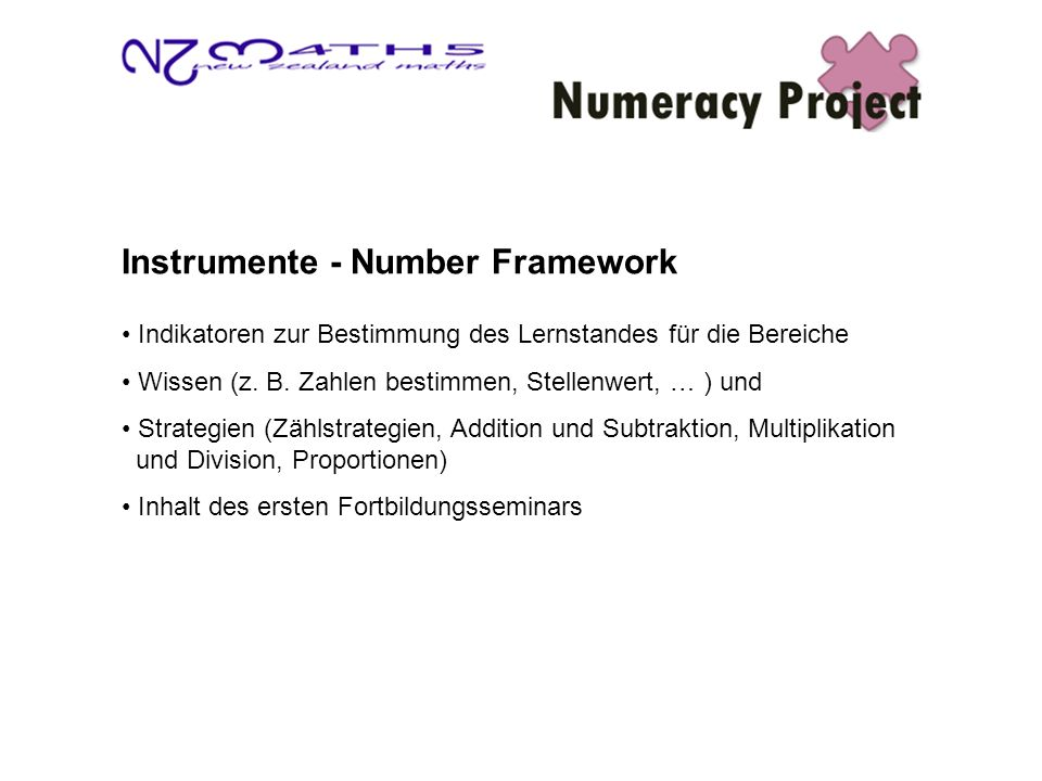 Instrumente - Number Framework Indikatoren zur Bestimmung des Lernstandes für die Bereiche Wissen (z.