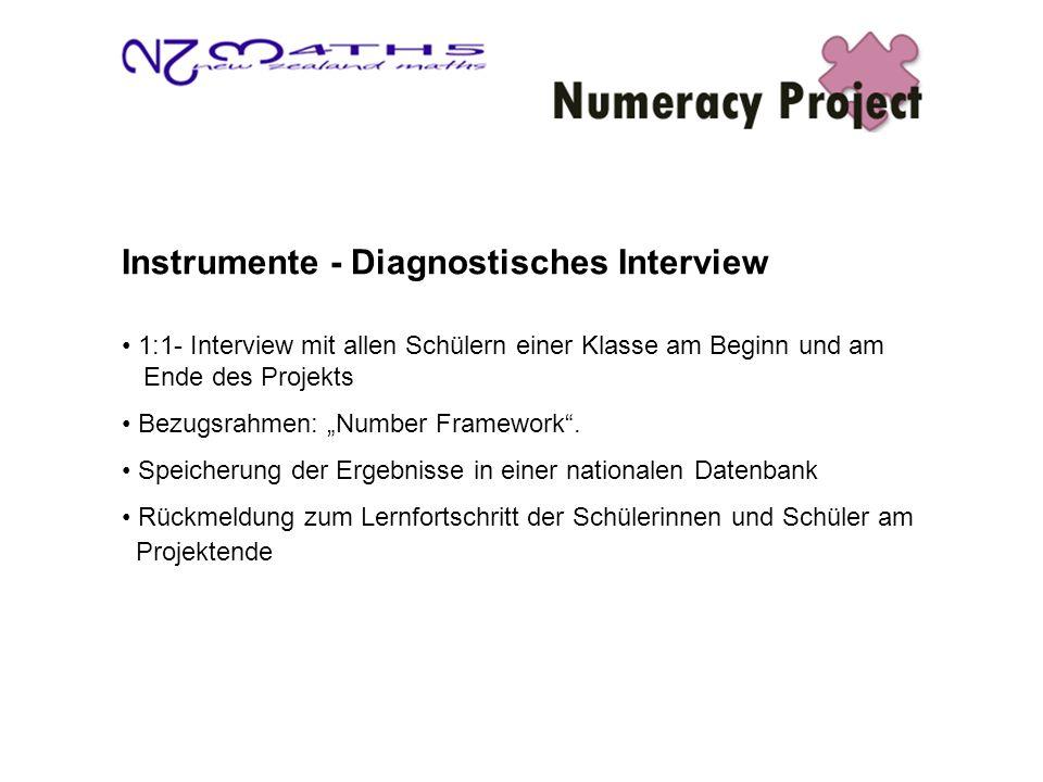 Instrumente - Diagnostisches Interview 1:1- Interview mit allen Schülern einer Klasse am Beginn und am Ende des Projekts Bezugsrahmen: Number Framework.
