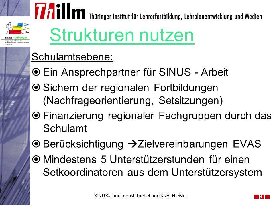 Schulamtsebene: Ein Ansprechpartner für SINUS - Arbeit Sichern der regionalen Fortbildungen (Nachfrageorientierung, Setsitzungen) Finanzierung regiona