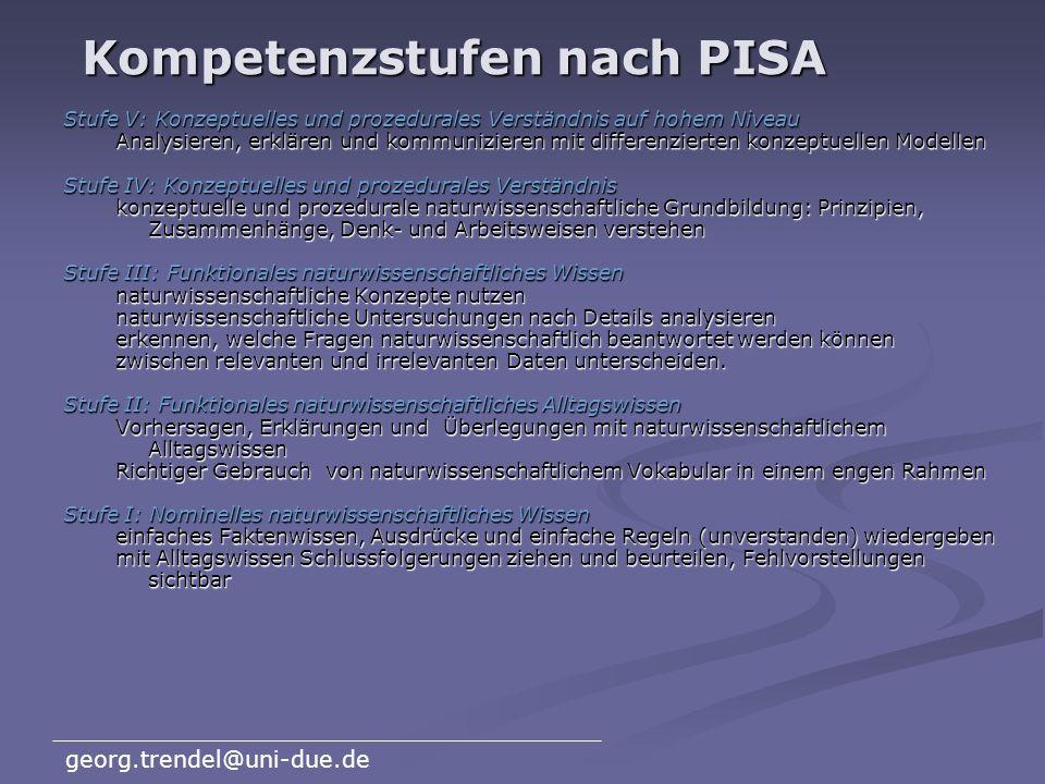 georg.trendel@uni-due.de PISA-2000 Naturwissen- schaften (PISA = Program for International Student Assessment)