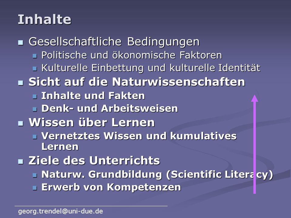 georg.trendel@uni-due.de Was hat sich geändert? Gesellschaftliche Bedingungen Gesellschaftliche Bedingungen Politische und ökonomische Faktoren Politi