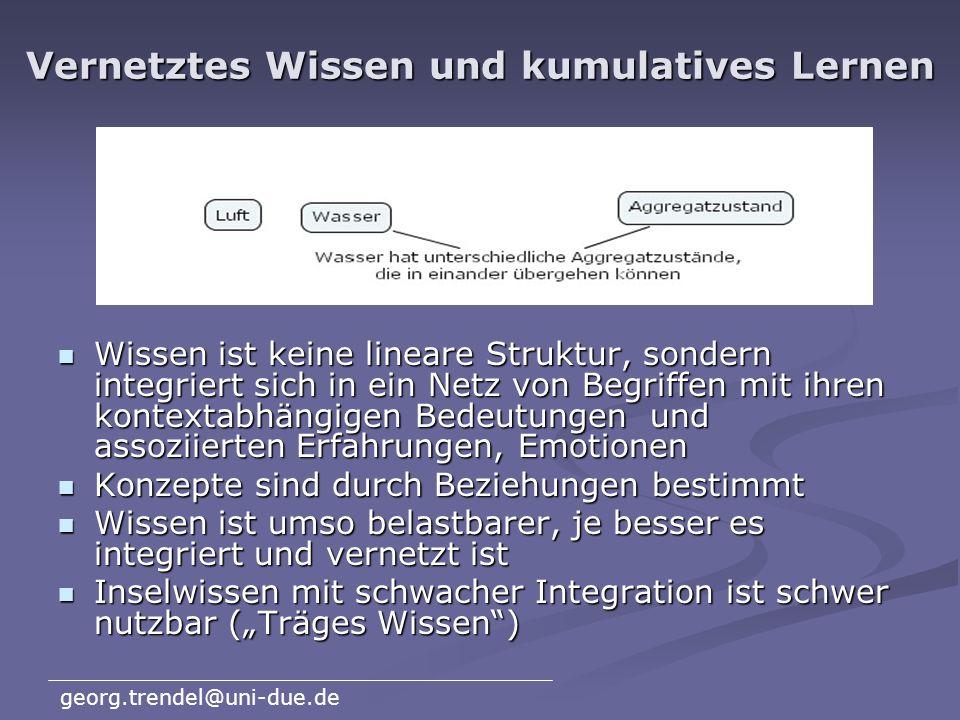 georg.trendel@uni-due.de Zum Kompetenzbegriff (Weinert 2001) Kompetenzen sind die bei Individuen verfügbaren oder durch sie erlernbaren kognitiven Fäh