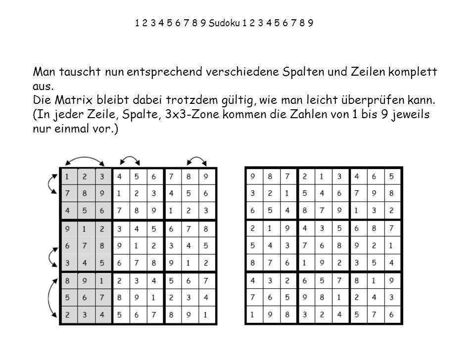 1 2 3 4 5 6 7 8 9 Sudoku 1 2 3 4 5 6 7 8 9 Man tauscht nun entsprechend verschiedene Spalten und Zeilen komplett aus. Die Matrix bleibt dabei trotzdem