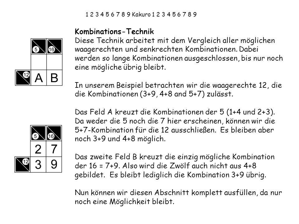 1 2 3 4 5 6 7 8 9 Kakuro 1 2 3 4 5 6 7 8 9 Kombinations-Technik Diese Technik arbeitet mit dem Vergleich aller möglichen waagerechten und senkrechten