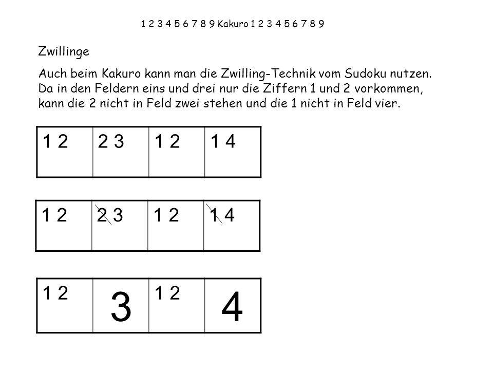 1 2 3 4 5 6 7 8 9 Kakuro 1 2 3 4 5 6 7 8 9 Zwillinge Auch beim Kakuro kann man die Zwilling-Technik vom Sudoku nutzen. Da in den Feldern eins und drei