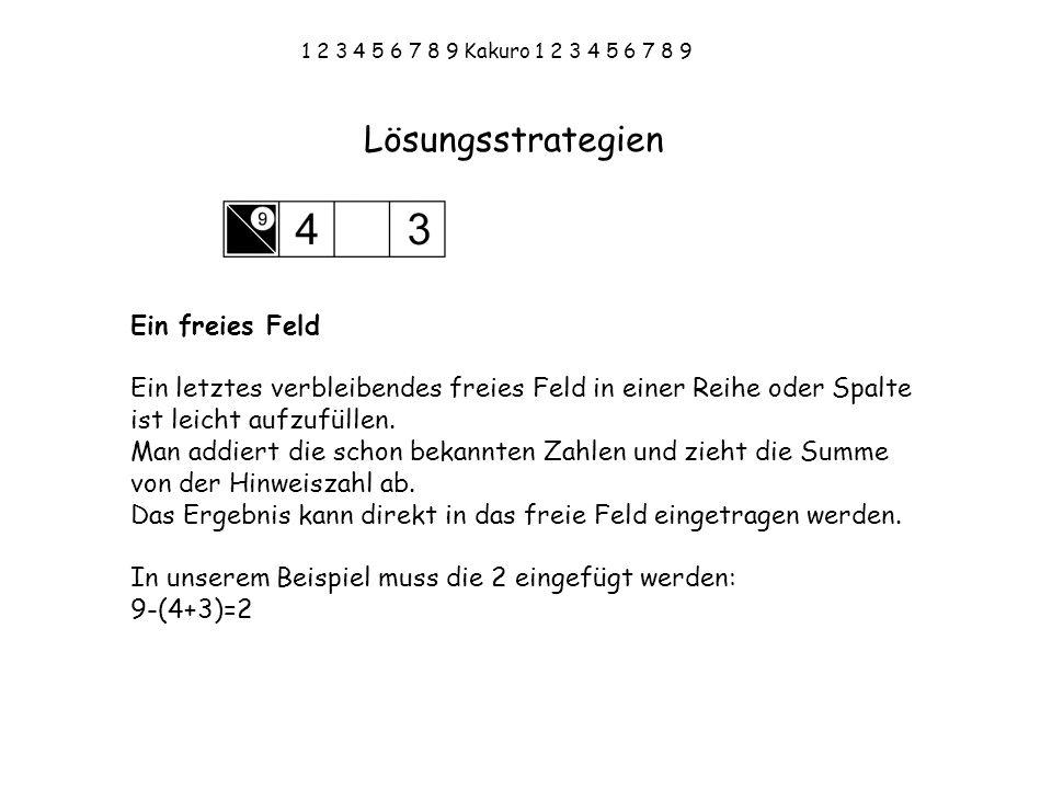 1 2 3 4 5 6 7 8 9 Kakuro 1 2 3 4 5 6 7 8 9 Kreuz-Technik Finde 2 sich kreuzende Summen und vergleiche die möglichen Kombinationen der beiden Hinweiszahlen.