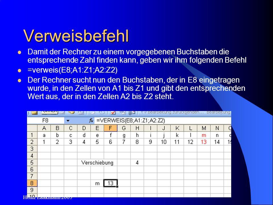 Heinz Laakmann 2005 Verweisbefehl Damit der Rechner zu einem vorgegebenen Buchstaben die entsprechende Zahl finden kann, geben wir ihm folgenden Befeh