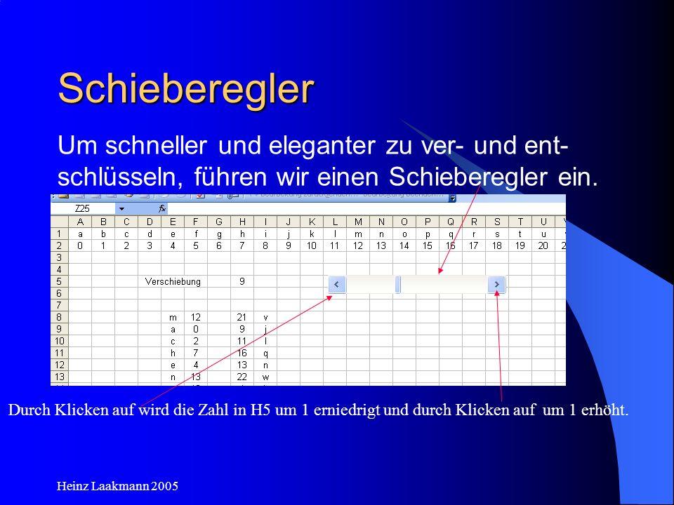 Heinz Laakmann 2005 Schieberegler Durch Klicken auf wird die Zahl in H5 um 1 erniedrigt und durch Klicken auf um 1 erhöht. Um schneller und eleganter