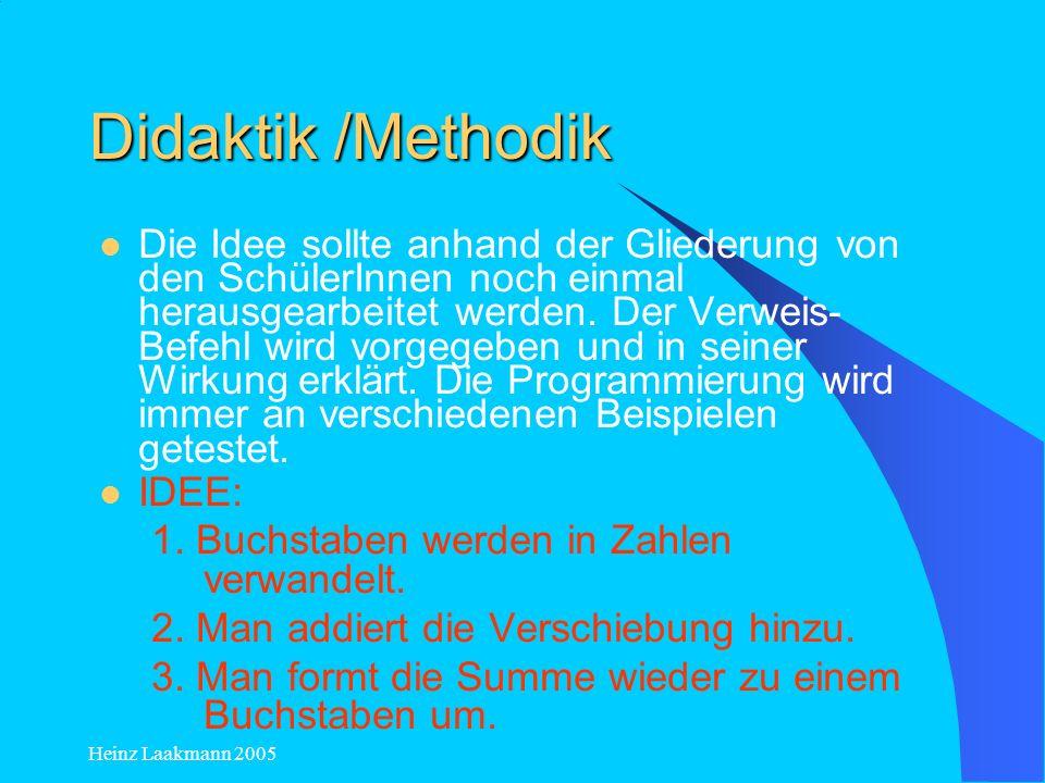 Heinz Laakmann 2005 Didaktik /Methodik Die Idee sollte anhand der Gliederung von den SchülerInnen noch einmal herausgearbeitet werden. Der Verweis- Be